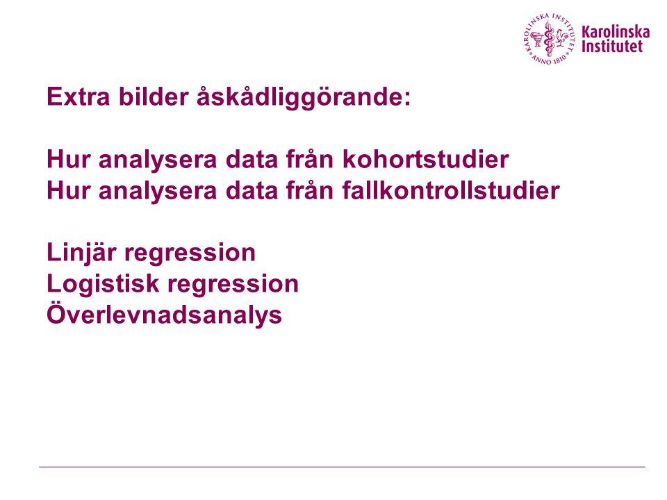 Extra bilder åskådliggörande: Hur analysera data från kohortstudier Hur analysera data från fallkontrollstudier Linjär regression Logistisk regression Överlevnadsanalys
