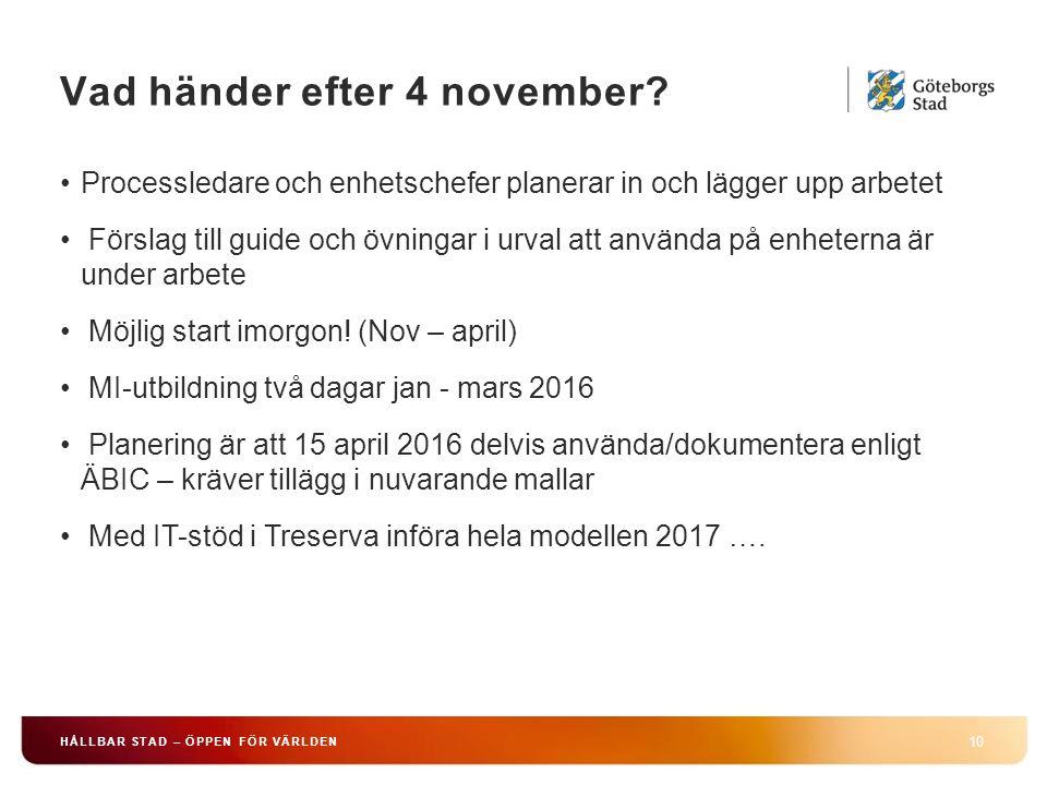 Vad händer efter 4 november? 10 HÅLLBAR STAD – ÖPPEN FÖR VÄRLDEN Processledare och enhetschefer planerar in och lägger upp arbetet Förslag till guide