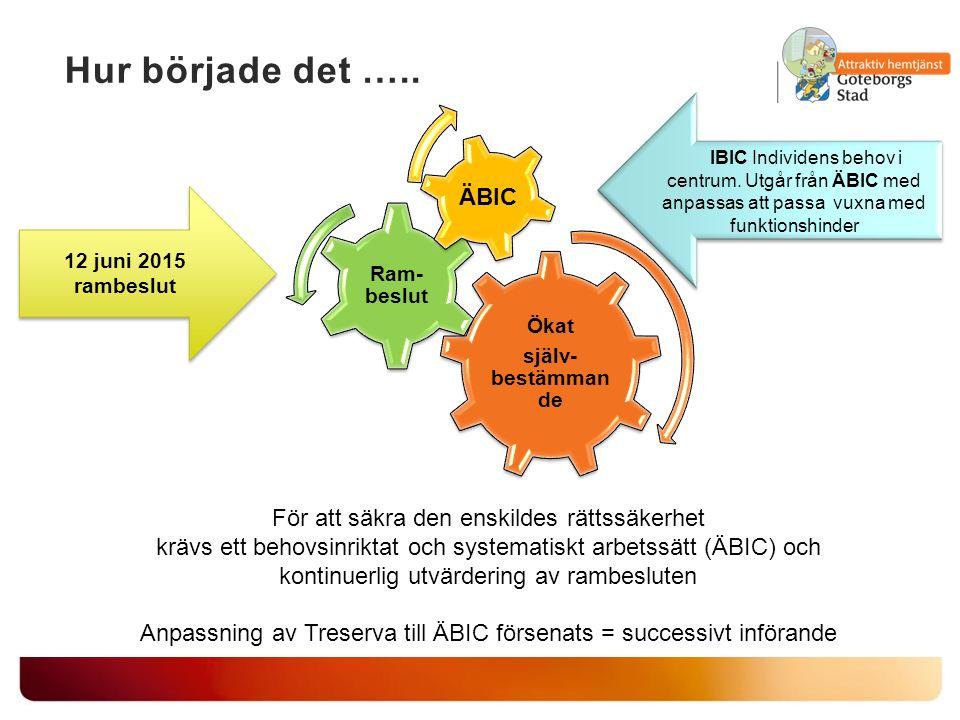 IBIC Individens behov i centrum. Utgår från ÄBIC med anpassas att passa vuxna med funktionshinder 12 juni 2015 rambeslut 12 juni 2015 rambeslut För at