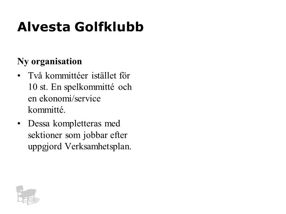 Alvesta Golfklubb Ny organisation Två kommittéer istället för 10 st.