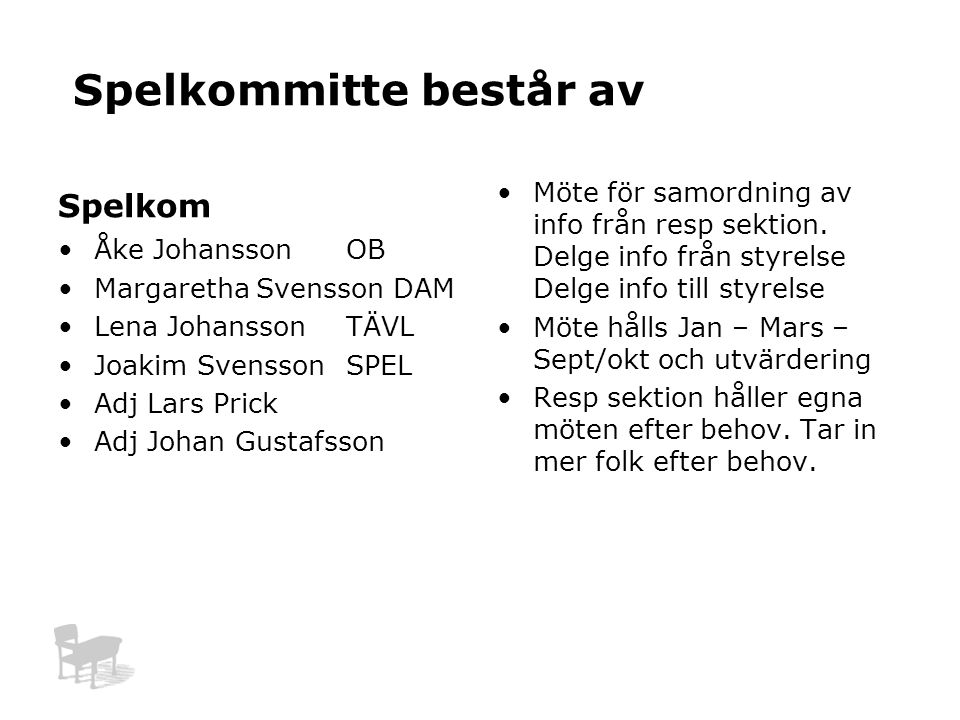 Spelkommitte består av Spelkom Åke JohanssonOB Margaretha Svensson DAM Lena JohanssonTÄVL Joakim SvenssonSPEL Adj Lars Prick Adj Johan Gustafsson Möte för samordning av info från resp sektion.