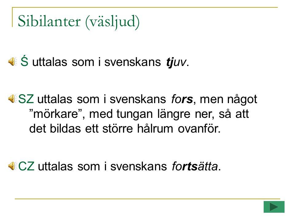 Sibilanter (väsljud) Ś uttalas som i svenskans tjuv.