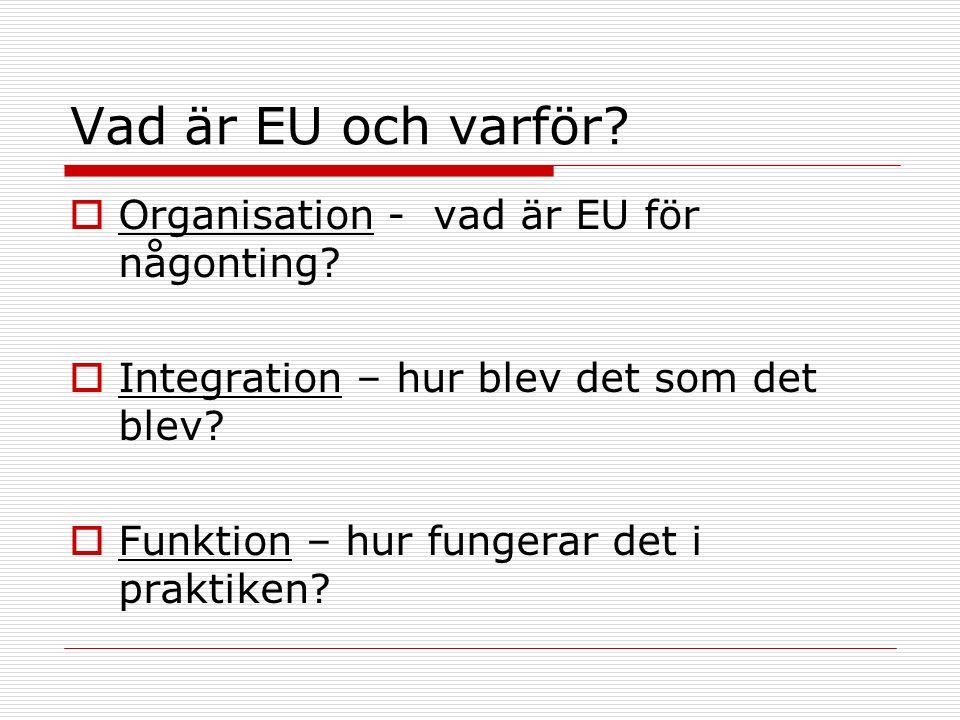Vad är EU och varför?  Organisation - vad är EU för någonting?  Integration – hur blev det som det blev?  Funktion – hur fungerar det i praktiken?