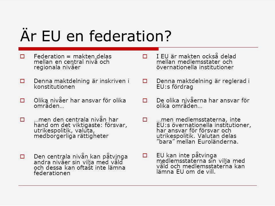 Är EU en federation?  Federation = makten delas mellan en central nivå och regionala nivåer  Denna maktdelning är inskriven i konstitutionen  Olika