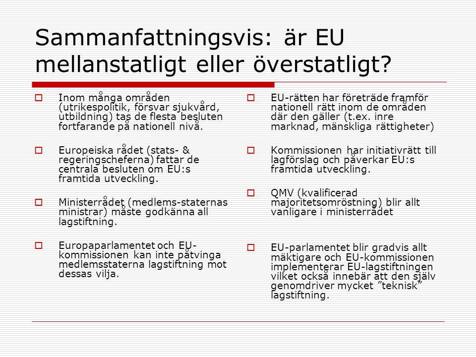 Sammanfattningsvis: är EU mellanstatligt eller överstatligt?  Inom många områden (utrikespolitik, försvar sjukvård, utbildning) tas de flesta beslute