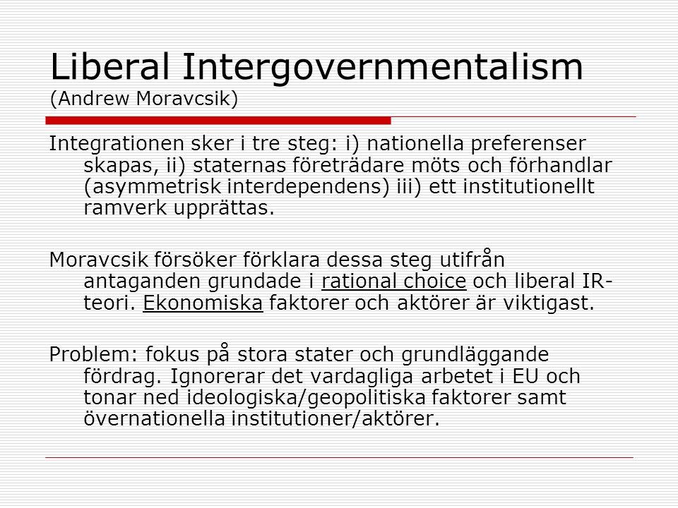 Liberal Intergovernmentalism (Andrew Moravcsik) Integrationen sker i tre steg: i) nationella preferenser skapas, ii) staternas företrädare möts och förhandlar (asymmetrisk interdependens) iii) ett institutionellt ramverk upprättas.