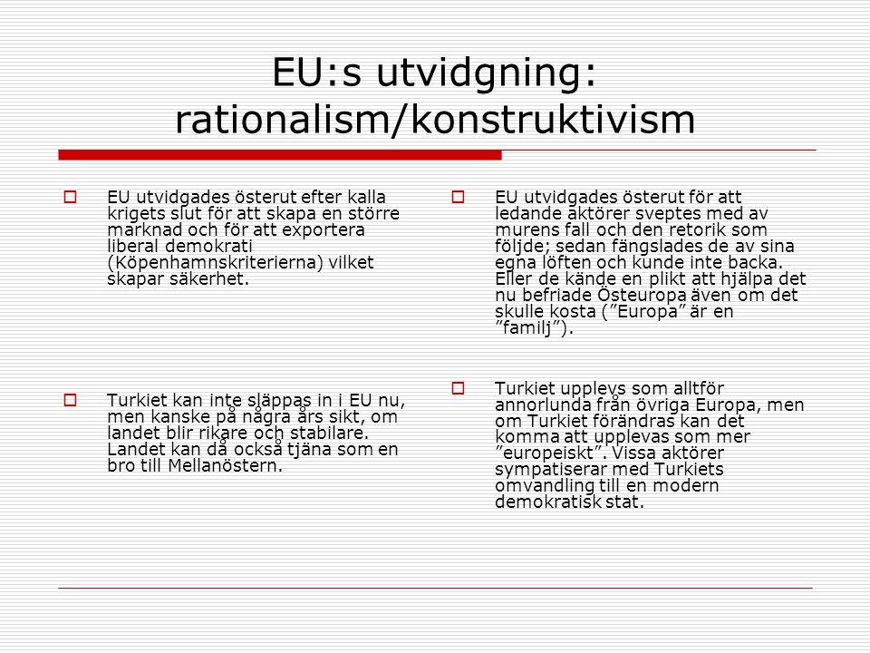 EU:s utvidgning: rationalism/konstruktivism  EU utvidgades österut efter kalla krigets slut för att skapa en större marknad och för att exportera liberal demokrati (Köpenhamnskriterierna) vilket skapar säkerhet.