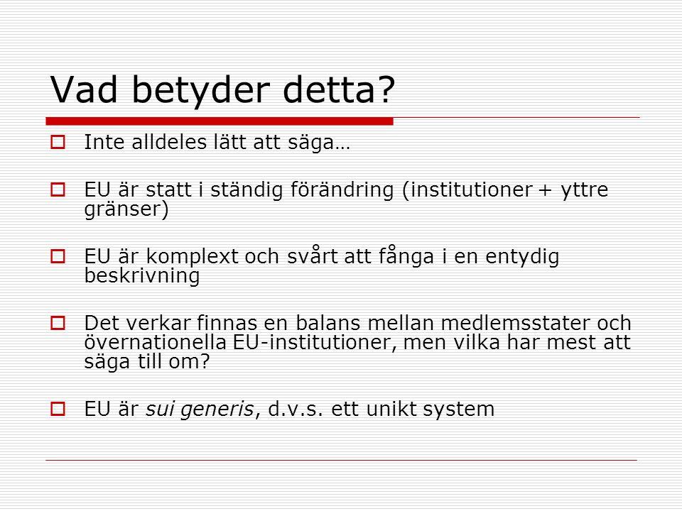Vad betyder detta?  Inte alldeles lätt att säga…  EU är statt i ständig förändring (institutioner + yttre gränser)  EU är komplext och svårt att få