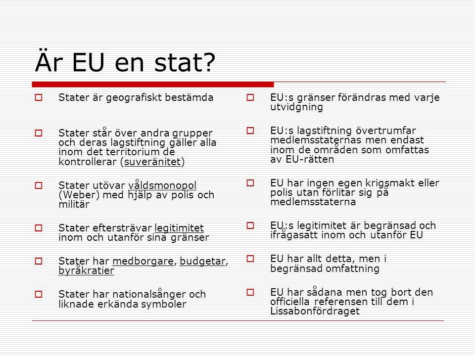 Är EU en stat?  Stater är geografiskt bestämda  Stater står över andra grupper och deras lagstiftning gäller alla inom det territorium de kontroller