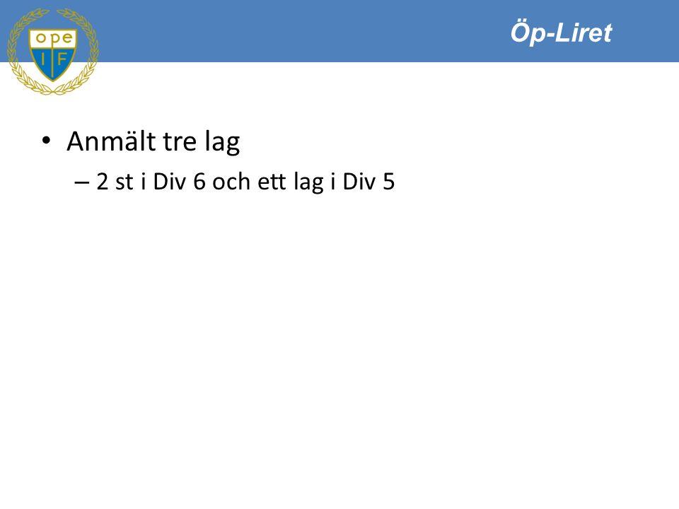 Öp-Liret Anmält tre lag – 2 st i Div 6 och ett lag i Div 5