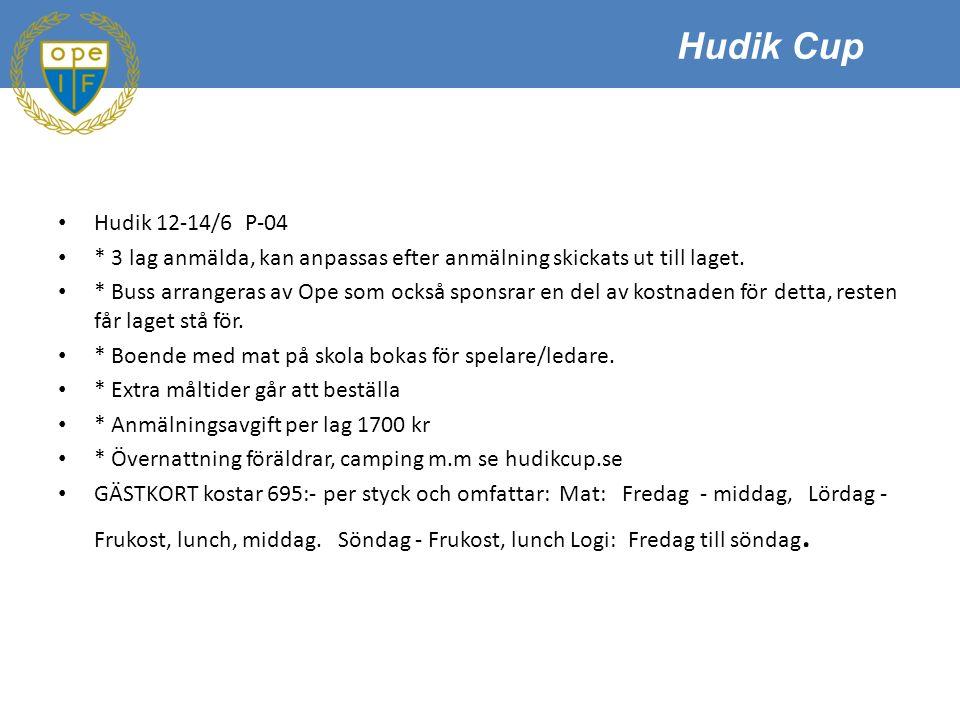 Hudik 12-14/6 P-04 * 3 lag anmälda, kan anpassas efter anmälning skickats ut till laget.