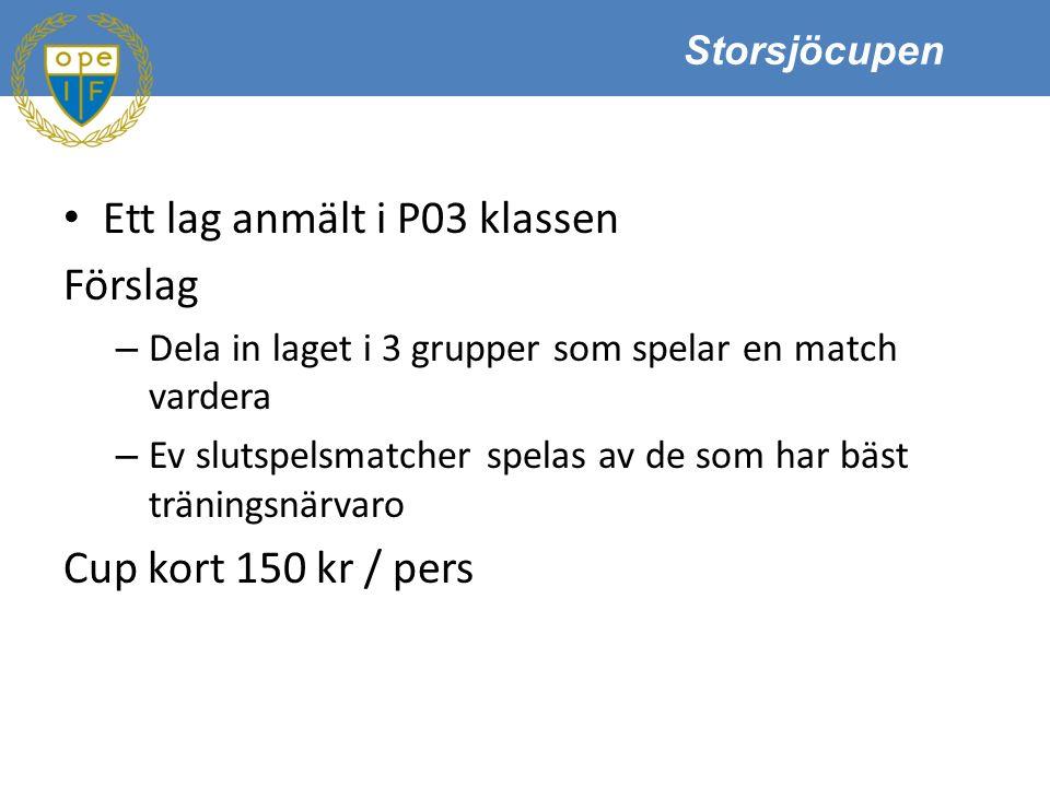 Storsjöcupen Ett lag anmält i P03 klassen Förslag – Dela in laget i 3 grupper som spelar en match vardera – Ev slutspelsmatcher spelas av de som har bäst träningsnärvaro Cup kort 150 kr / pers