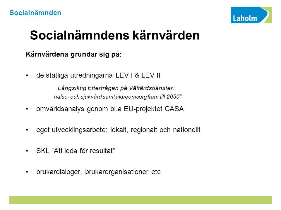 Socialnämndens kärnvärden Kärnvärdena grundar sig på: de statliga utredningarna LEV I & LEV II Långsiktig Efterfrågan på Välfärdstjänster: hälso- och sjukvård samt äldreomsorg fram till 2050 omvärldsanalys genom bl.a EU-projektet CASA eget utvecklingsarbete; lokalt, regionalt och nationellt SKL Att leda för resultat brukardialoger, brukarorganisationer etc Socialnämnden