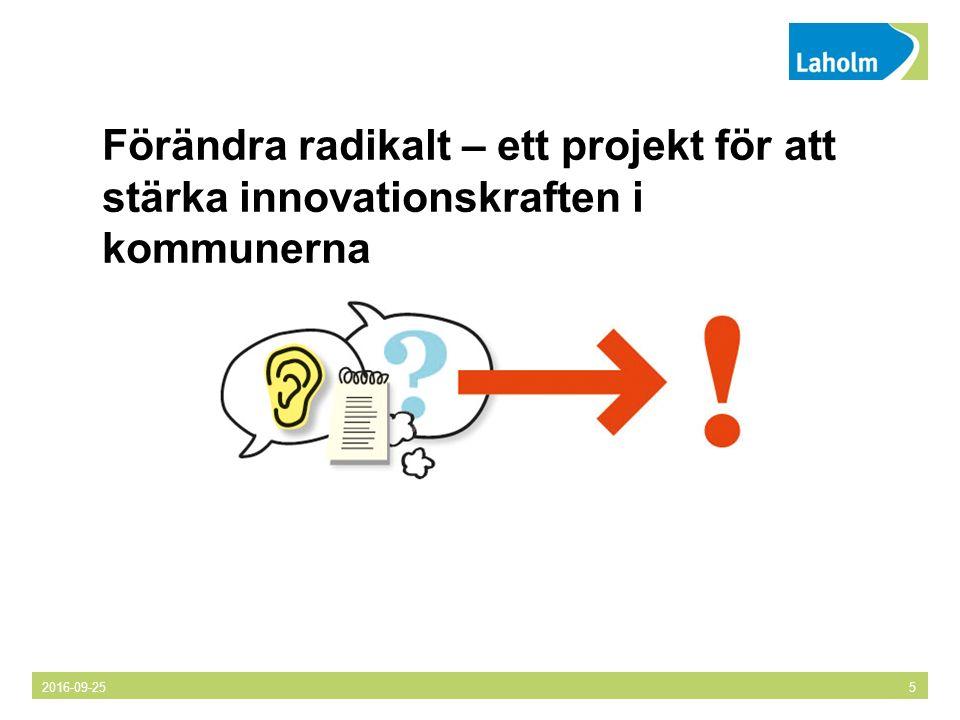 Förändra radikalt – ett projekt för att stärka innovationskraften i kommunerna 2016-09-255