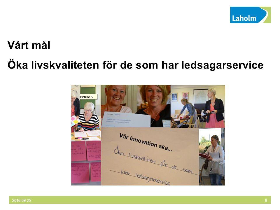 2016-09-258 Vårt mål Öka livskvaliteten för de som har ledsagarservice