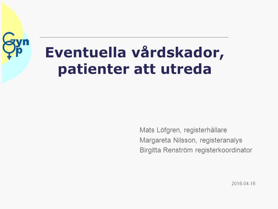 Eventuella vårdskador, patienter att utreda 2016-04-16 Mats Löfgren, registerhållare Margareta Nilsson, registeranalys Birgitta Renström registerkoordinator