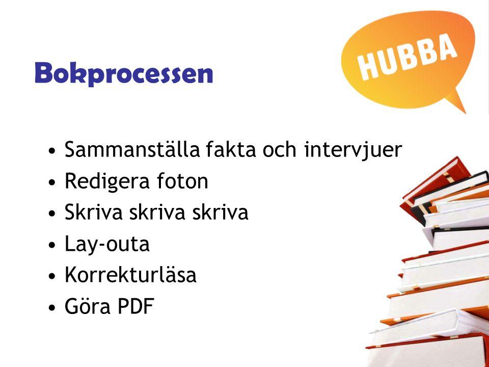 Bokprocessen Sammanställa fakta och intervjuer Redigera foton Skriva skriva skriva Lay-outa Korrekturläsa Göra PDF