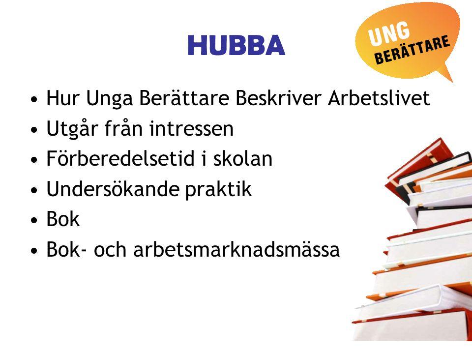 HUBBA Hur Unga Berättare Beskriver Arbetslivet Utgår från intressen Förberedelsetid i skolan Undersökande praktik Bok Bok- och arbetsmarknadsmässa