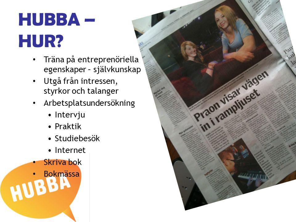 HUBBA – HUR? Träna på entreprenöriella egenskaper – självkunskap Utgå från intressen, styrkor och talanger Arbetsplatsundersökning Intervju Praktik St