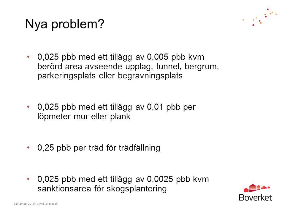 Nya problem? 0,025 pbb med ett tillägg av 0,005 pbb kvm berörd area avseende upplag, tunnel, bergrum, parkeringsplats eller begravningsplats 0,025 pbb