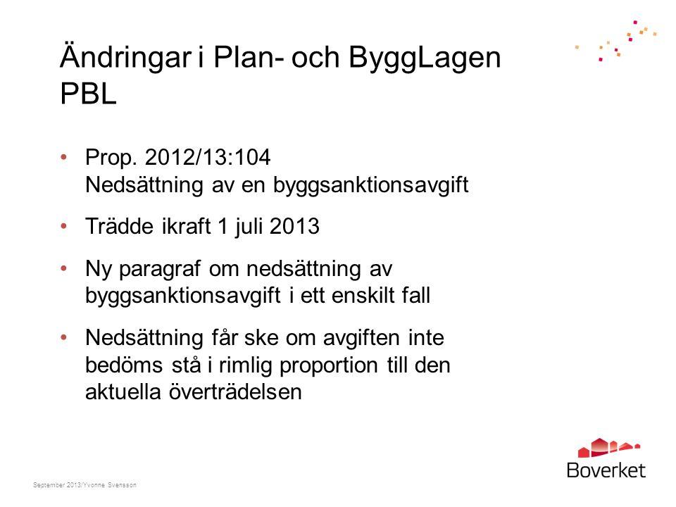 Ändringar i Plan- och ByggLagen PBL Prop. 2012/13:104 Nedsättning av en byggsanktionsavgift Trädde ikraft 1 juli 2013 Ny paragraf om nedsättning av by