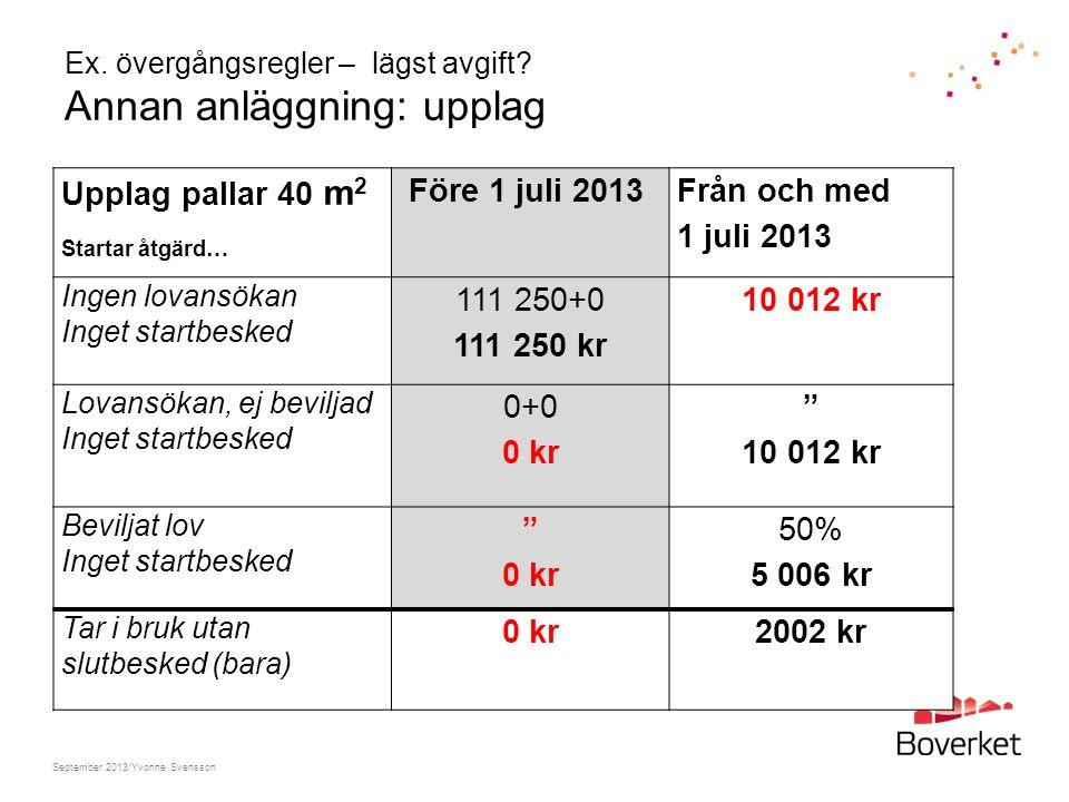 Ex. övergångsregler – lägst avgift? Annan anläggning: upplag Upplag pallar 40 m 2 Startar åtgärd… Före 1 juli 2013 Från och med 1 juli 2013 Ingen lova
