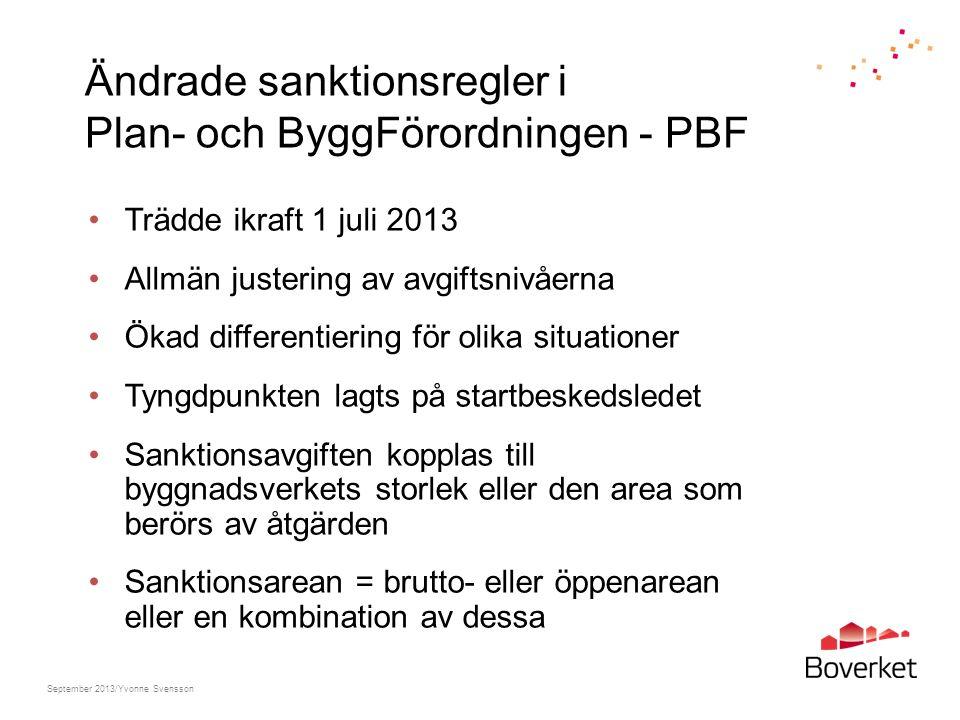 Ändrade sanktionsregler i Plan- och ByggFörordningen - PBF Trädde ikraft 1 juli 2013 Allmän justering av avgiftsnivåerna Ökad differentiering för olik