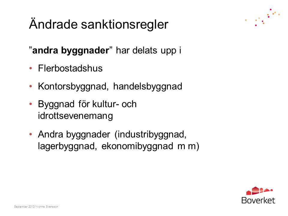 """Ändrade sanktionsregler """"andra byggnader"""" har delats upp i Flerbostadshus Kontorsbyggnad, handelsbyggnad Byggnad för kultur- och idrottsevenemang Andr"""