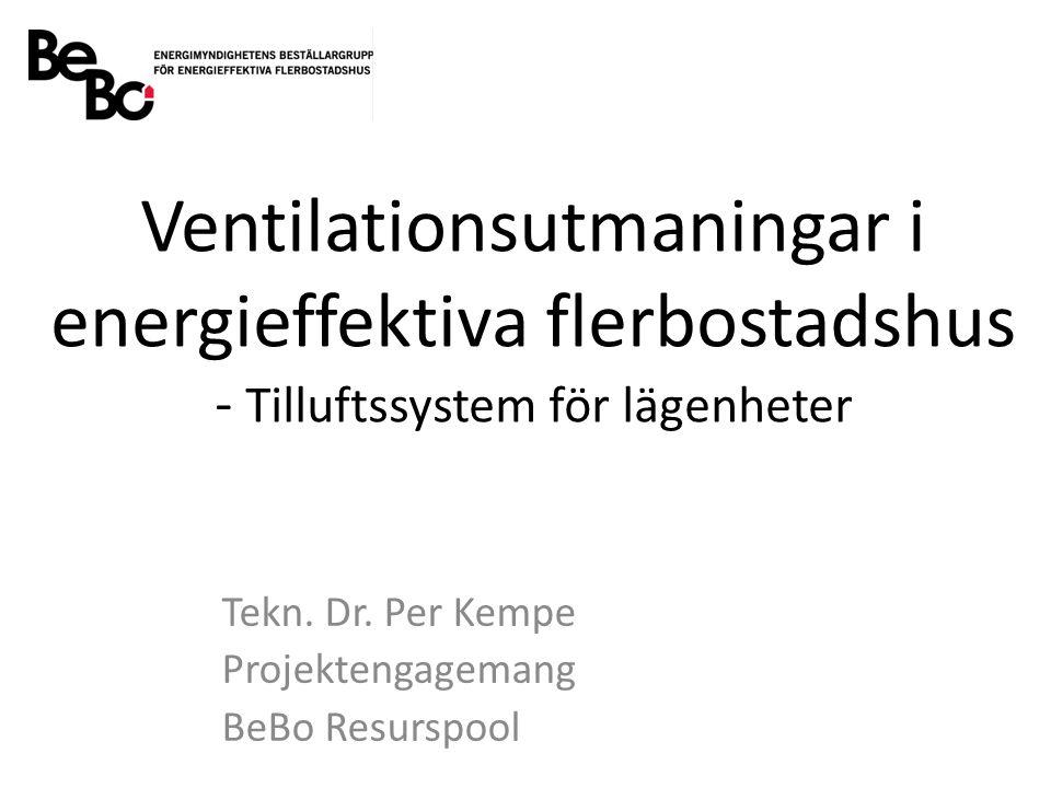 Ventilationsutmaningar i energieffektiva flerbostadshus - Tilluftssystem för lägenheter Tekn.