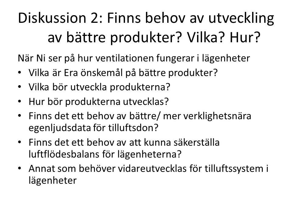 Diskussion 2: Finns behov av utveckling av bättre produkter.