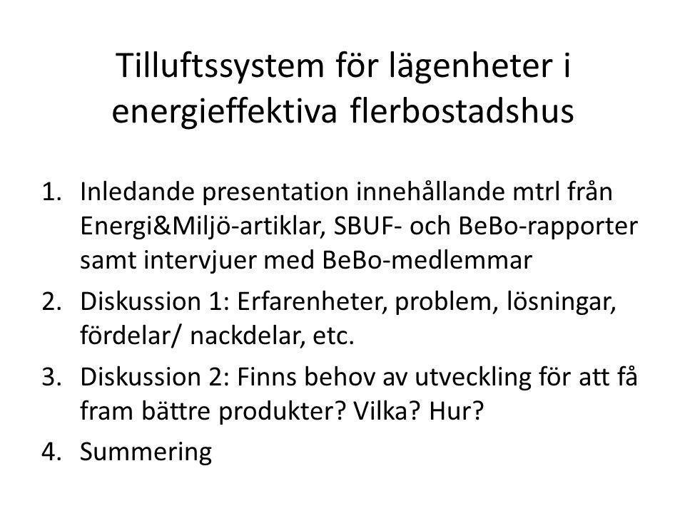 Tilluftssystem för lägenheter i energieffektiva flerbostadshus 1.Inledande presentation innehållande mtrl från Energi&Miljö-artiklar, SBUF- och BeBo-rapporter samt intervjuer med BeBo-medlemmar 2.Diskussion 1: Erfarenheter, problem, lösningar, fördelar/ nackdelar, etc.