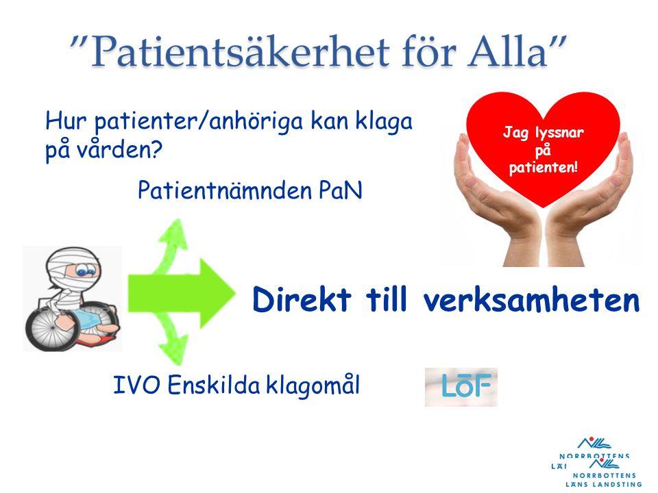 Jag lyssnar på patienten! Hur patienter/anhöriga kan klaga på vården? Patientnämnden PaN Direkt till verksamheten IVO Enskilda klagomål