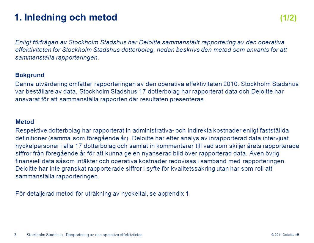 © 2011 Deloitte AB 3Stockholm Stadshus - Rapportering av den operativa effektiviteten 1. Inledning och metod (1/2) Enligt förfrågan av Stockholm Stads