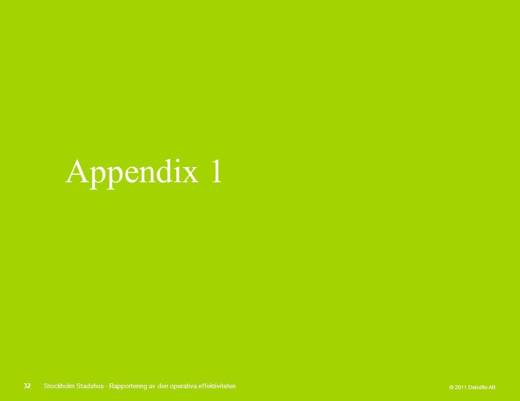 © 2011 Deloitte AB Appendix 1 32Stockholm Stadshus - Rapportering av den operativa effektiviteten