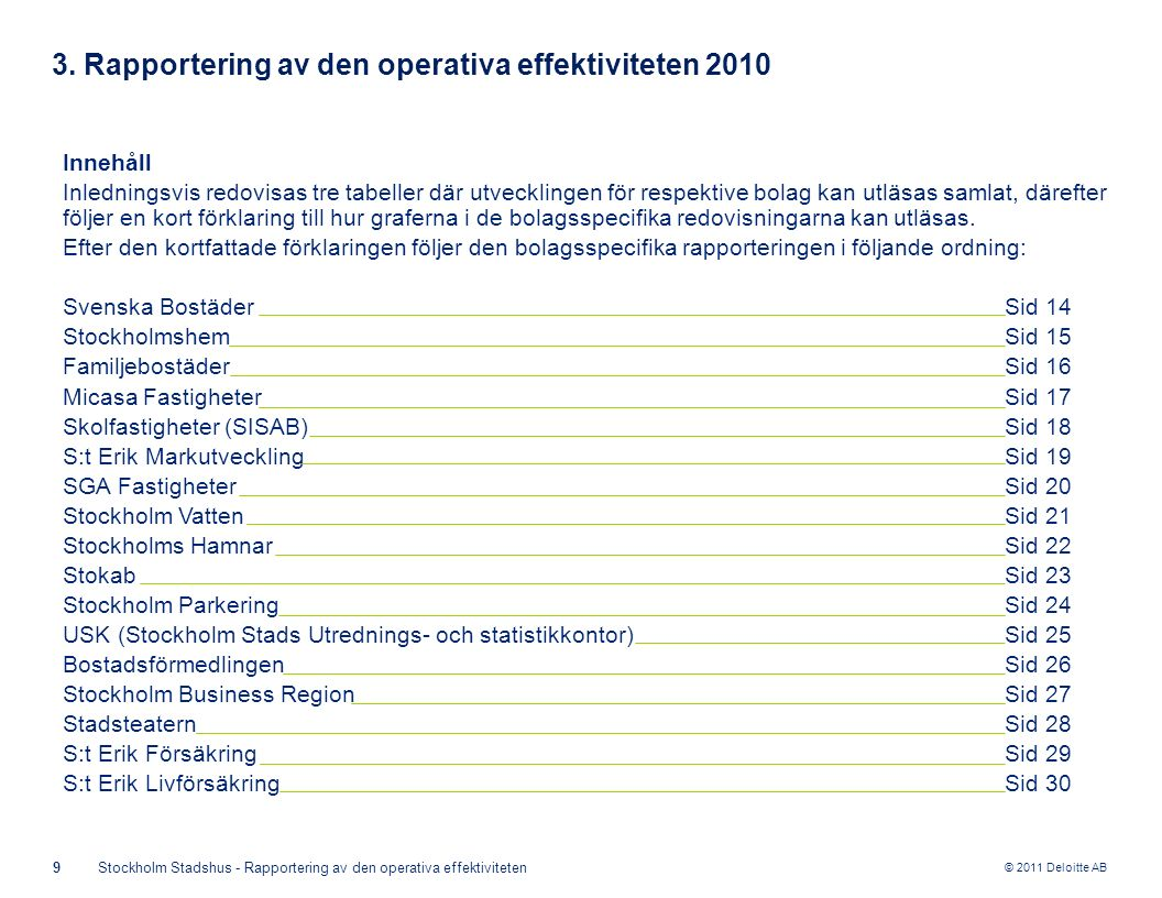 © 2011 Deloitte AB 9Stockholm Stadshus - Rapportering av den operativa effektiviteten 3. Rapportering av den operativa effektiviteten 2010 Innehåll In