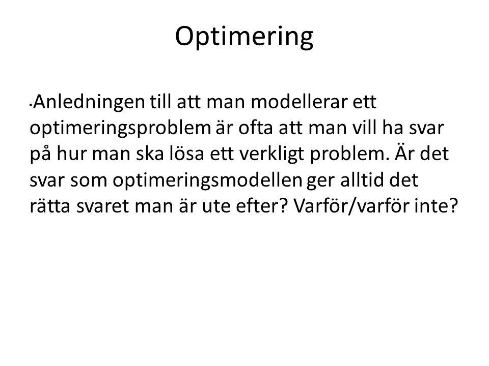 Optimering Anledningen till att man modellerar ett optimeringsproblem är ofta att man vill ha svar på hur man ska lösa ett verkligt problem.