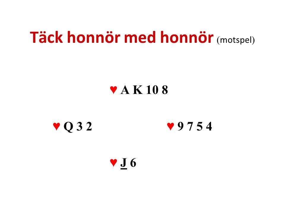 Täck honnör med honnör ( motspel ) ♥ A K 10 8 ♥ Q 3 2♥ 9 7 5 4 ♥ J 6