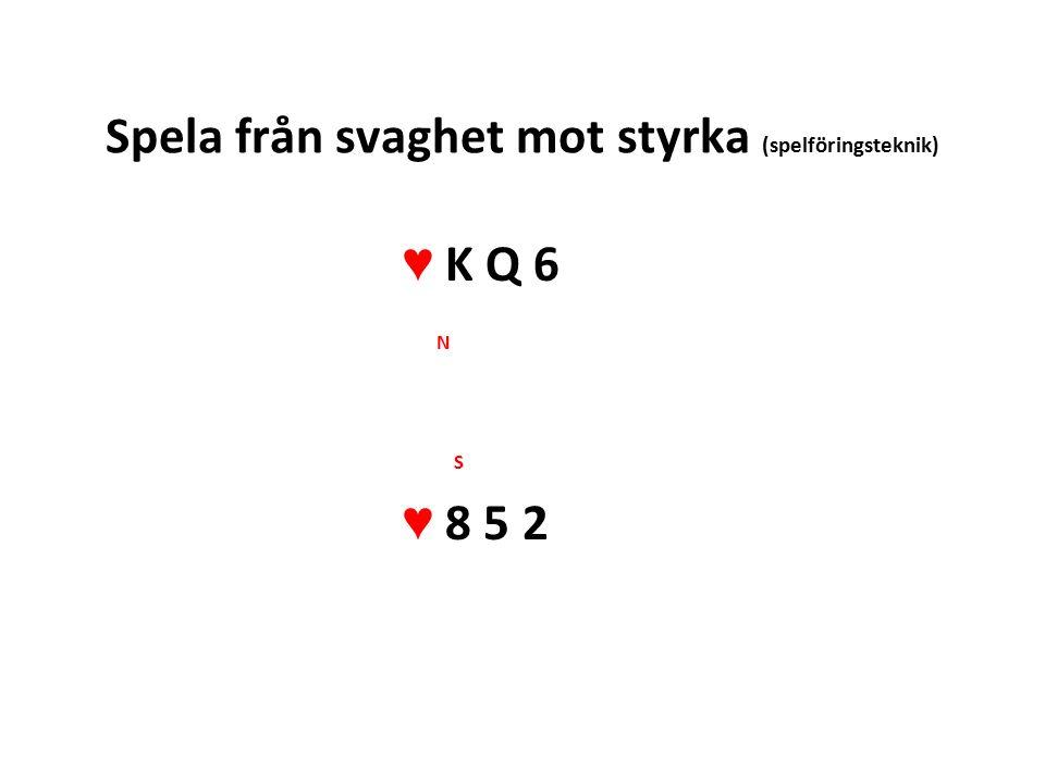Spela från svaghet mot styrka (spelföringsteknik) ♥ K Q 6 N S ♥ 8 5 2