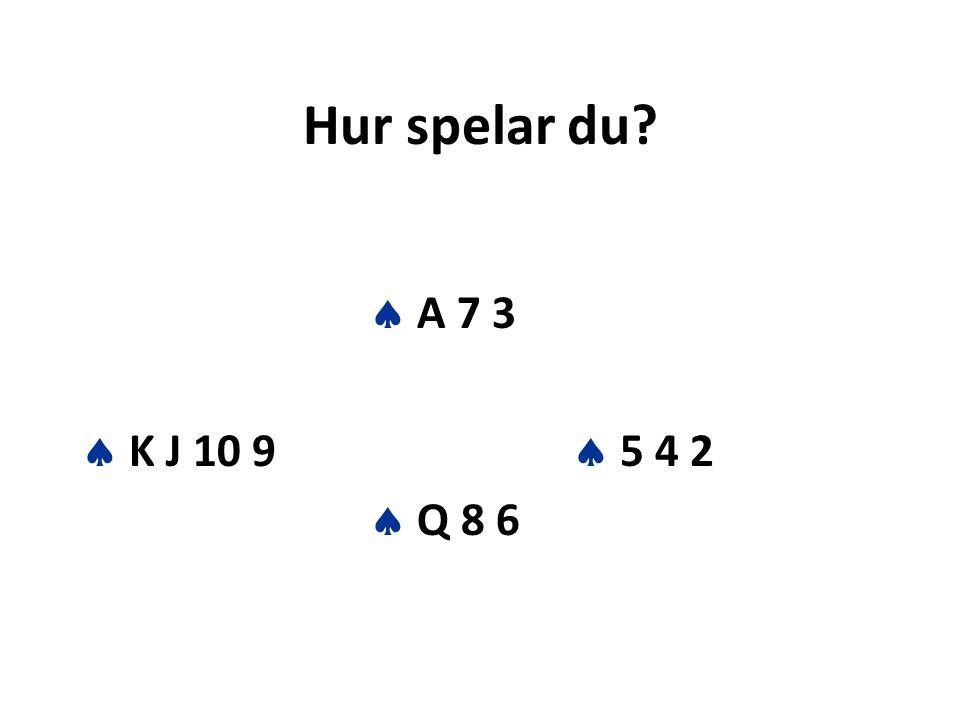 Hur spelar du?  A 7 3  K J 10 9  5 4 2  Q 8 6