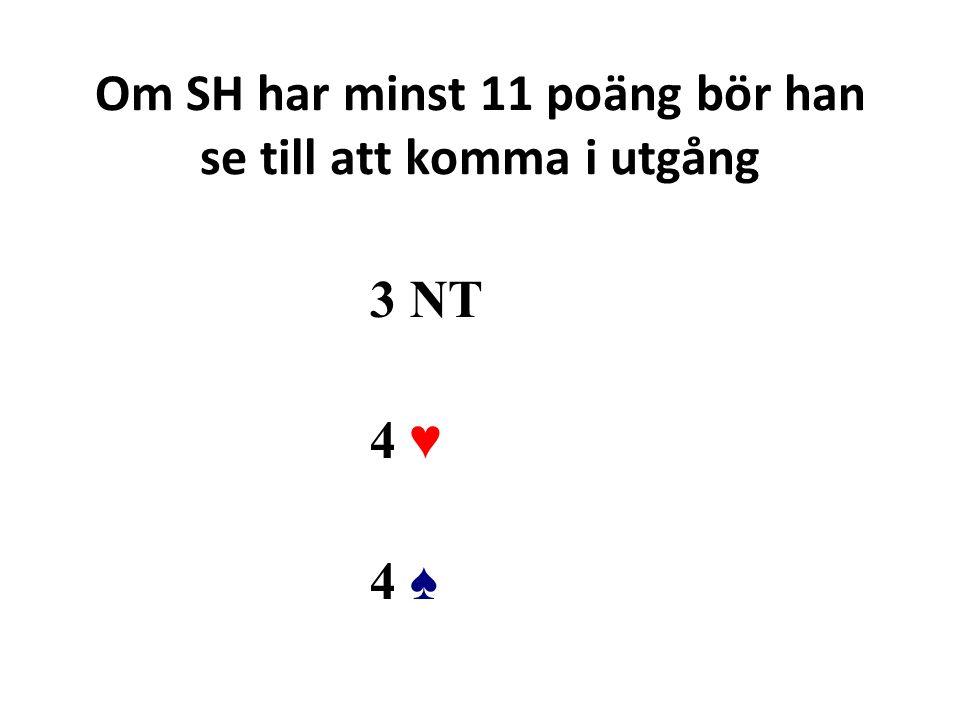 Om SH har minst 11 poäng bör han se till att komma i utgång 3 NT 4 ♥ 4 ♠4 ♠