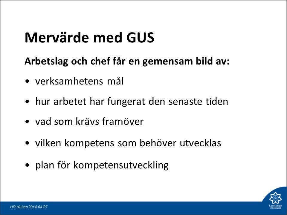 Mervärde med GUS Arbetslag och chef får en gemensam bild av: verksamhetens mål hur arbetet har fungerat den senaste tiden vad som krävs framöver vilken kompetens som behöver utvecklas plan för kompetensutveckling HR-staben 2014-04-07