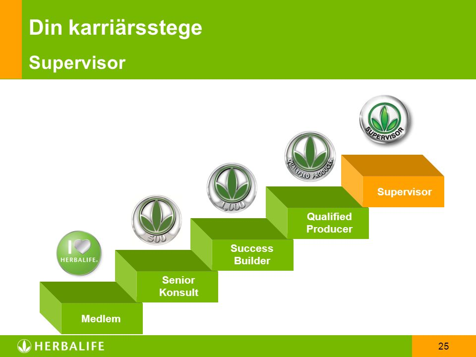 25 Din karriärsstege Supervisor Success Builder Qualified Producer Supervisor Medlem Senior Konsult