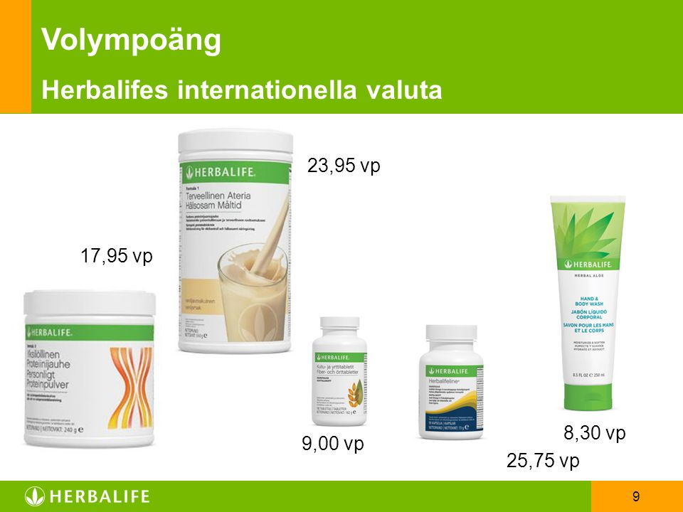 9 8,30 vp 9,00 vp 25,75 vp 17,95 vp Volympoäng Herbalifes internationella valuta 23,95 vp