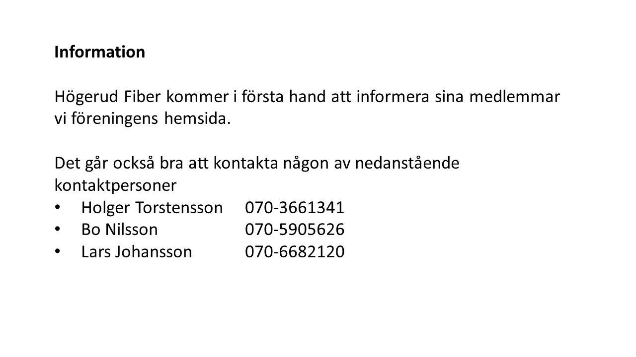 Information Högerud Fiber kommer i första hand att informera sina medlemmar vi föreningens hemsida.