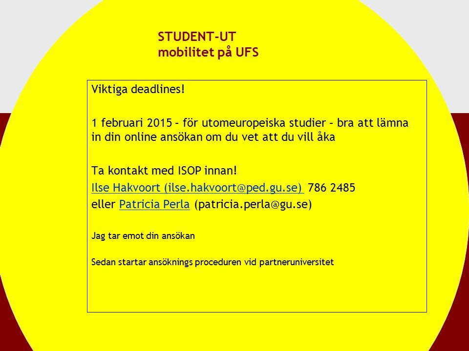STUDENT-UT mobilitet på UFS Viktiga deadlines.