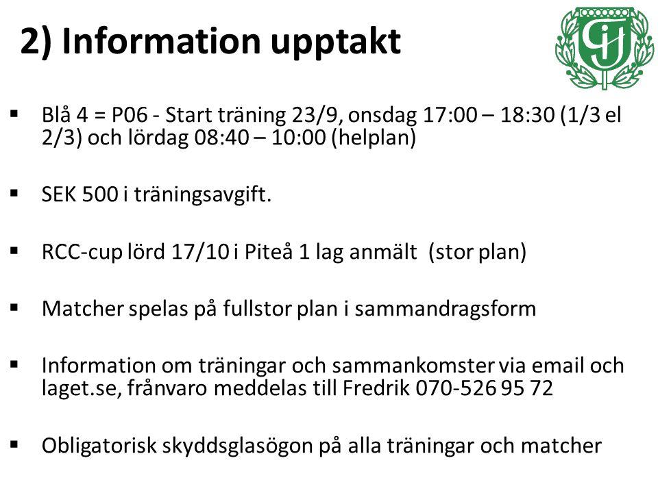 2) Information upptakt  Blå 4 = P06 - Start träning 23/9, onsdag 17:00 – 18:30 (1/3 el 2/3) och lördag 08:40 – 10:00 (helplan)  SEK 500 i träningsavgift.