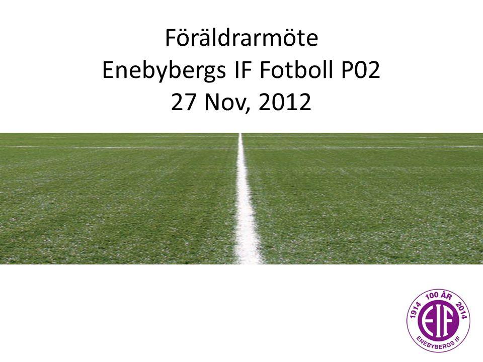 Agenda 1)Utvärdering av säsongen 2012 2)Årsplan 2013 St Erikscupen - Laguttagning grunder och principer Övriga cuper 2013 3)Ekonomi – matchställ, kläder, mm 4)Övrigt