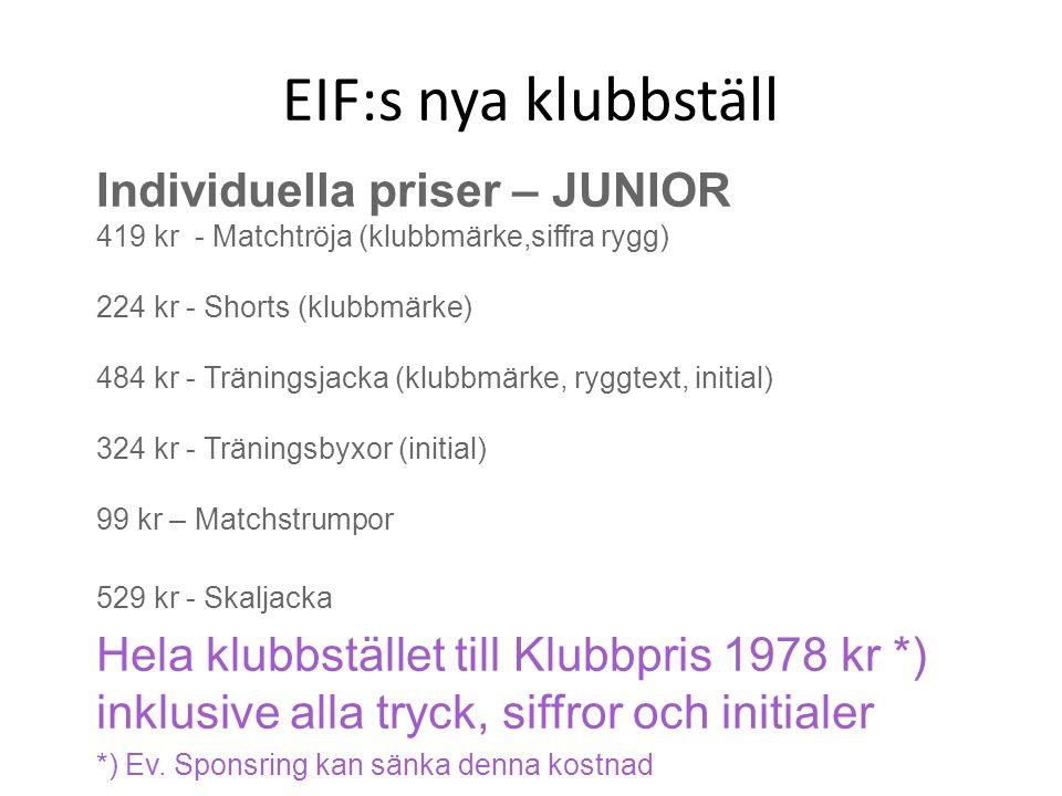EIF:s nya klubbställ Individuella priser – JUNIOR 419 kr - Matchtröja (klubbmärke,siffra rygg) 224 kr - Shorts (klubbmärke) 484 kr - Träningsjacka (klubbmärke, ryggtext, initial) 324 kr - Träningsbyxor (initial) 99 kr – Matchstrumpor 529 kr - Skaljacka Hela klubbstället till Klubbpris 1978 kr *) inklusive alla tryck, siffror och initialer *) Ev.