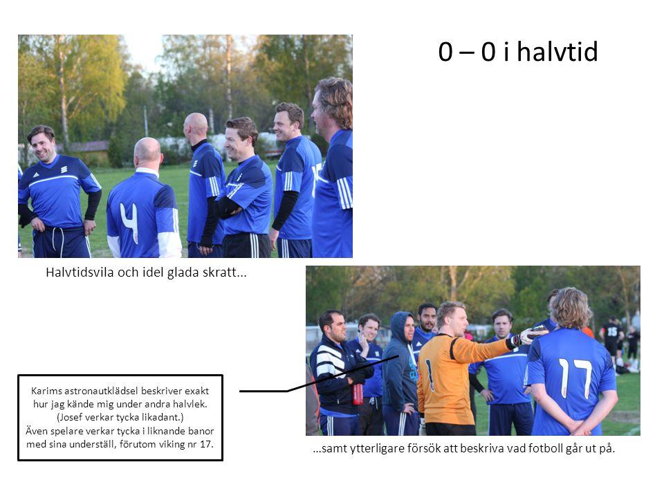 Halvtidsvila och idel glada skratt... …samt ytterligare försök att beskriva vad fotboll går ut på. 0 – 0 i halvtid Karims astronautklädsel beskriver e