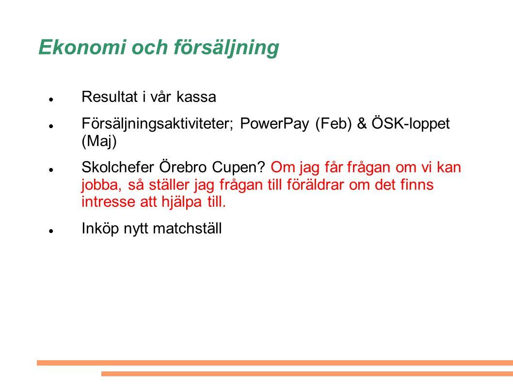 Ekonomi och försäljning Resultat i vår kassa Försäljningsaktiviteter; PowerPay (Feb) & ÖSK-loppet (Maj) Skolchefer Örebro Cupen.